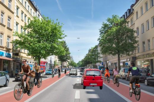 Visualisierung der Rosenheimerstraße nachdem Vorschlag von Green City e.V., Foto: Green City e.V.