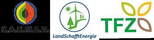 Logos C.A.R.M.E.N. e.V., LandSchafftEnergie, TFZ